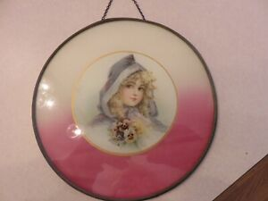 ANTIQUE CHIMNEY FIREPLACE FLUE COVER VICTORIAN WOMAN OLD GLASS METAL FRAME NICE!