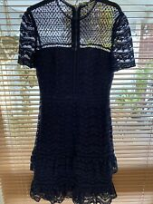 Whistles Lace Formal Tiered Dress Navy UK8