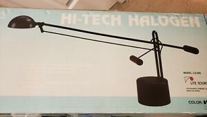 """New Lite Source Halogen Desk Lamp Black LS-306 29"""" Pendulum Movement 50 Watt"""