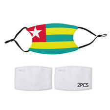 Reusable Face Mask 2 Filters Togo Togolese Flag Country Pride Patriotic National
