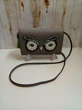 NWT KATE SPADE OWL SUMMER STAR BRIGHT Grey Saffiano Leather Wallet/ Handbag~$229