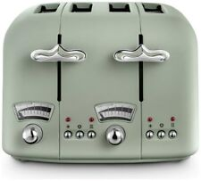 De'Longhi CTO4 Argento Flora 4 Slice Toaster Touch Of Authentic Italian Green_UK
