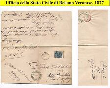 1877 official letter between Belluno VR and Bagnolo S. Vito MN, with stamp. (38)