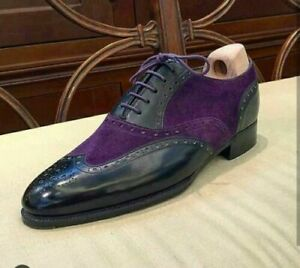 Handmade New Black Purple Color Leather Suede Shoes, Men's Lace Up Wing Tip Form