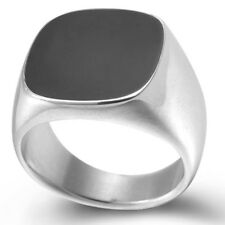 Size 5-15 Stainless Steel Black Onyx Enamel Signet Ring Wedding Engagement Party