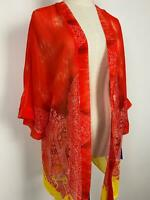 Peter Nygard Women's Resort Orange Sheer Kimono Jacket Sz S A14 ~Free AU Post!