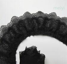 5 yard 3-layer Pleated Organza Lace Edge Trim Gathered Mesh Chiffon Ribbon Black