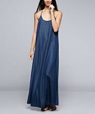 Blue Denim Sleeveless Maxi Dress Size 8 Oversized Cotton Blend BNWT #B-302