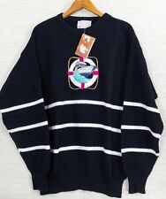 Lord Jeff Nautical Sailor Sweater Mens  M Embroidered Striped Black USA Cotton