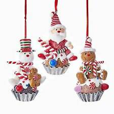 Gingerbread Cupcake Ornaments, 3 Assorted w