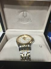 Accutron 28A116 Gemini Automatic Swiss Watch Stainless and Gold Mens BRAND NEW
