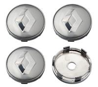 Silber 4 x 60mm Renault Chrome Alufelge Nabenkappen Nabendeckel Satz