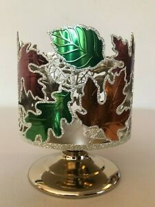 Bath & Body Works Dancing Leaves Candle Holder Pedestal 3 Wick Candle Sleeve NEW