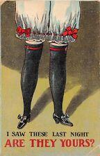 POSTCARD  COMIC    Black  Stockings  Long  Knickers  Red  garters