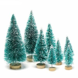 8pcs Mini Christmas Trees Ornament Snow Frost Small Pine Tree XMAS Home Decor