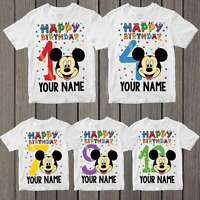 Personalised Your Name Mickey Happy Birthday Kids Boys Girls Funny T-Shirt