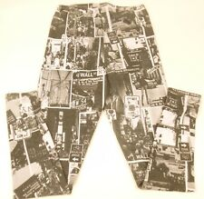 "Poliana Plus NY Streets & Signs Black & White Leggings 28"" Waist Unstretched"