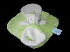 Doudou carré plat Chat douceur vert et blanc pétales Babynat' Baby Nat' BN777