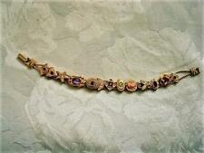 Unsigned Goldette Slide Bracelet Bee Heart Cameo Missing 1 small Rhinestone