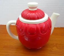 """Tender Heart Treasures Red and Ivory Teapot 6"""" high x 7"""" wide 2003"""