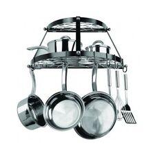Kitchen Pan Pot Rack Wall Mount 2 Shelf Steel Storage Organizer Cookware Hanger