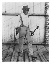 1900s era vintage photo-Old African American Man with Banjo and cane-8x10 in