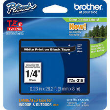 Brother P-Touch TZE315 White on Black Label Tape TZE-315 PTouch TZ315 TZe-315