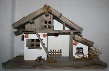 Krippe Weihnachten Holz  39,5 cm x 19 cm - GH 24 cm Stallung- Futterstelle