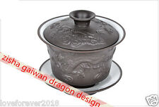 On sales dragon carved zisha tea set gaiwan cup saucer kung fu travel tea set