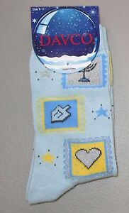 DAVCO~Women's Sock 9-11~Light Blue HANUKKAH Casual Crew Socks