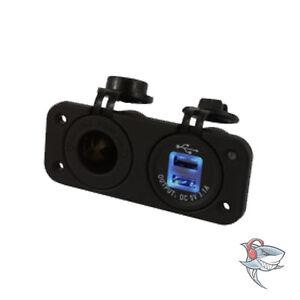 New HEAVY DUTY TWIN ACCESSORY AND DUAL USB SOCKETS AUTO MARINE VAN CAR UTE TRUCK