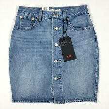 535326368fe Levi's Premium Denim Mom Skirt Size 28 Button Front Cotton Big E Red Tab  Jean