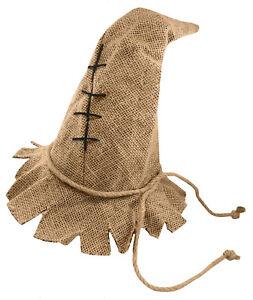 Adult Scarecrow Hat Pointed Cap Unisex Burlap Halloween Costume Accessory