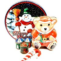 Christmas Bundle w/ Snowman Tin, Bear Tin, 3 Small Candle Tins, & Ornament