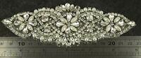 Diamante Applique Motif Crystal Patch Sew on Bridal Dress Belt, Hair Band D11