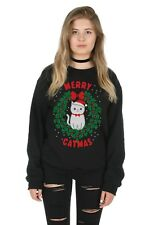 Merry Catmas Sweater Top Jumper Sweatshirt Xmas Ugly Funny Crazy Lady Cats Cat