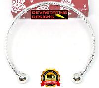 2 Piece Lot 925 Sterling Silver Women's DIY Swirl Design Bracelet Bangle D405