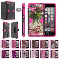 """For Apple iPhone 8 Case (4.7"""") Holster Belt Clip Dual Kickstand Armor Pink Cover"""