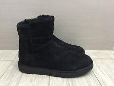 LADIES GENUINE BLACK SUEDE UGG AUSTRALIA ABREE MINI CLASSIC BOOTS, UK 5.5/38
