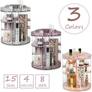 Sorbus 360° Rotating Makeup Organizer 4 Adjustable Shelves 15 Slots Carousel Top