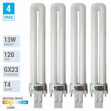 4 Pack PL13S PLS13 ECO CFL Plug-In 13W Watt T4 Bi 2-Pin GX23 3500K Neutral White