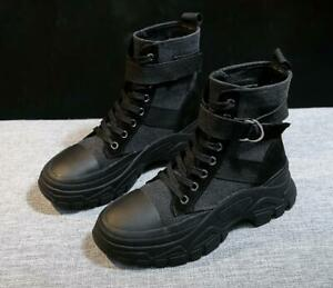 Womens Ankle Boots High Top Canvas Chunky Sneakers Hiking Desert Combat Shoes