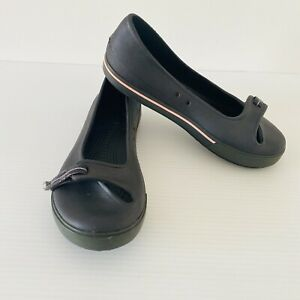 Crocs Crocband Sporty Ballet Flats Shoes Womens Size 7 W Black Green Slip On