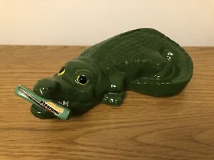 Rare Peperami Money Box Crocodile Green Ceramic Collectable!