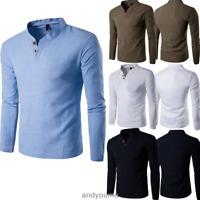 New Men's Casual Long Sleeve Tee V-neck Tops Undershirt Summer T-Shirts Fashion