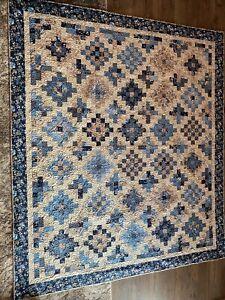 Blue and Cream Quilt, Mini Trip Around the World Pattern 73 X 85