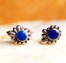 Kleine 7,5 x 6 mm Ohrstecker Silber Lapis Lazuli Blau Floral Verspielt Lilie