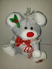 """Vintage 1987 Fisher Price 12"""" Puffalump Christmas Mouse With Candy Cane"""