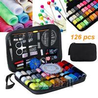 126Pc Sewing Kit Measure Scissor Thimble Thread Needle Storage Box Travel Set US