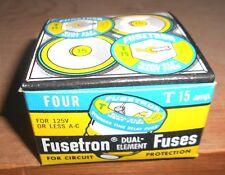 4 Pcs LOT T-15 Amp FUSESTAT Plug Fuse BUSS Bussmann NEW Fuses TIME DELAY 125Vac